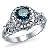1.35ct Blue Round Diamond Engagement Ring 14k White Gold Vintage Style