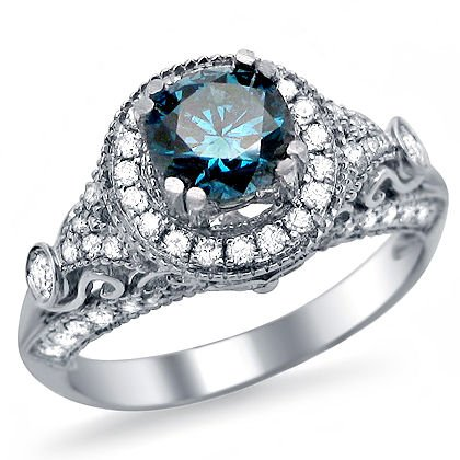 1.35ct Blue Round Diamond Engagement Ring 14k