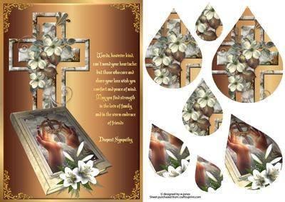 sympathy, Kreuz und Bibel Vers &pyramage Tropfenform, mit Motiv von Wendy Jones