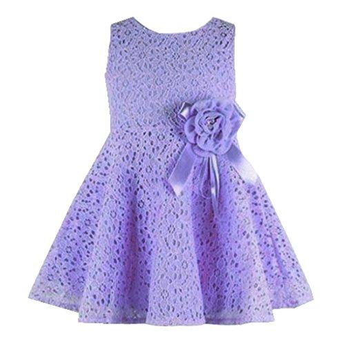 Rorychen Baby Girls' Sleeveless Lace Zipper Dress 18 Months Purple
