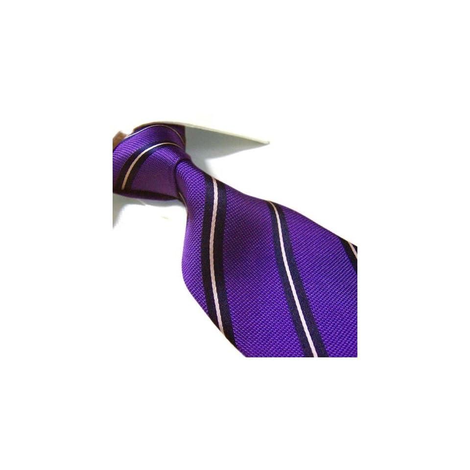 100% Silk XL Tie by Towergem,Purple Stripe Tie For men Extra Long Necktie Clothing