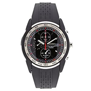 Buy Seiko Mens SNAC01 Black Dial Chronograph Rubber Strap Alarm Watch by Seiko