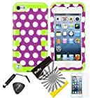 4 items Combo: ITUFFY(TM) LCD Screen Protector Film + Mini Stylus Pen + Case Opener + Purple White Polka Dots Design Rubberized Hard Plastic + GREEN Soft Rubber TPU Skin Dual Layer Tough Hybrid Case for Apple ipod Touch 5 (5th Generation Ipod Touch)