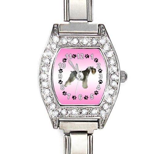 Mini Schnauzer CZ Ladies Stainless Steel Italian Charms Bracelet Watch (Schnauzer Italian Charm compare prices)