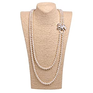 ART KIM Princess Rhinestone Bow Pearl Strands Necklaces (2 Layers White)
