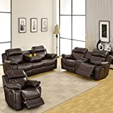 Darrin Leather Reclining Sofa Set with Console - Brown