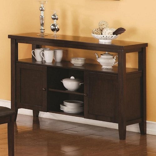 Cheap 2 Door Server Sideboard with Shelving in Medium Brown Finish (VF_103155)