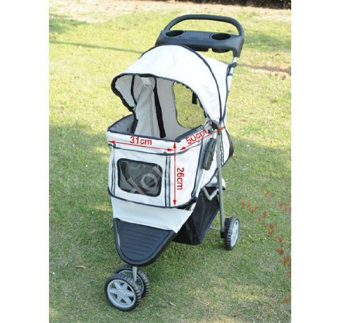 Deluxe Three Wheels Pet Dog Cat Pushchair Stroller In Grey New