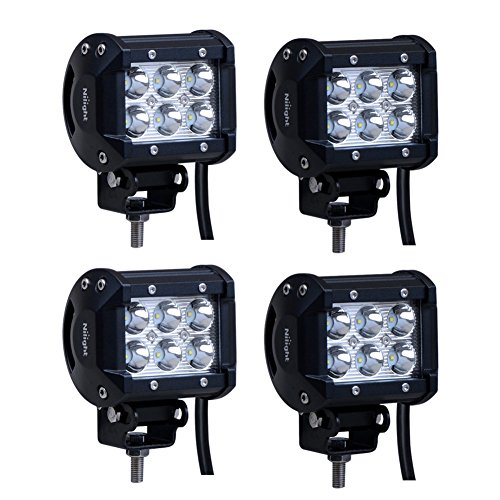 LED Light Bar Nilight 4PCS 4 Inch 18W  LED Bar 1260lm Spot Led Off Road Driving Lights Led Fog Lights Jeep Lighting Waterproof LED Work Light for Van Camper SUV ATV  ,2 Years Warranty (Off Road Lights Bar compare prices)