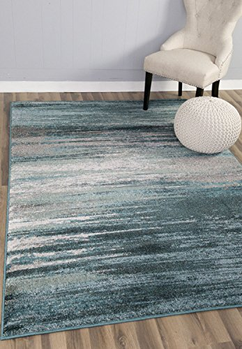 Teal Amp Gray Rug Modern Contemporary 5 3 Quot X 7 7 Quot 5x8