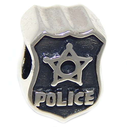 925 Solid Sterling Silver Two-sided Police Shield Charm Bead