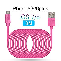 [Apple Certified] LP iPhone 6S Plus Lightning Cable (3M / 9.8 ft), Lightning Usb Tangle Free, Apple Cha, iPhone Cord Charger, Heavy Duty iPhone 6S Cord, iPhone 6 Charging Wire, Apple Cables for iPod Touch 5th Generation, iPad