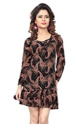 Trendif Black And Peach Poly Georgette Paisely Print Party Wear Dress