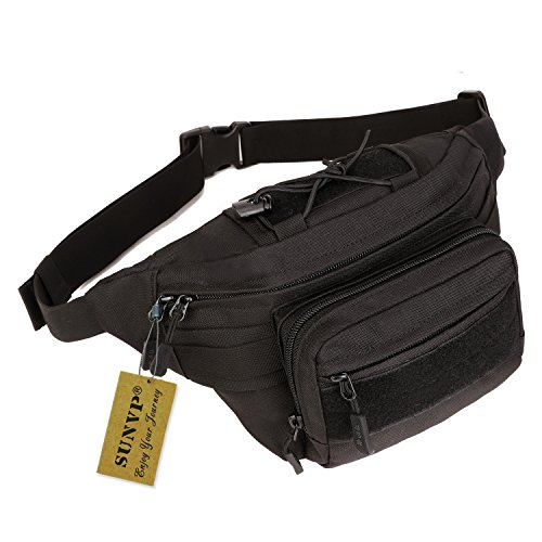 SUNVP Military Hip Fanny Pack Tactical Waist Bag Packs Waterproof Hip Belt Bag Pouch for Hiking Climbing Outdoor Bumbag