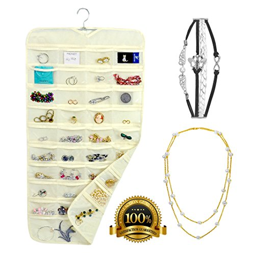 Hanging Jewelry Organizer + Pearl Necklace + 4 stripes Bracelet With 80 Double Sided Pockets - Bedroom, Wall & Closet Mount - Durable, Non-Woven Fabric - For Makeup, Nail Polish and Hair Accessories (Nail Polish Jewelry compare prices)