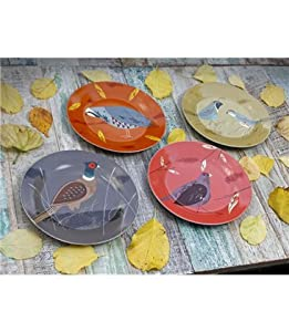 Game Birdy set of 4 Plates By Magpie. Comes in a lovely matching gift box, Pheasant, Quail, Partridge, Grouse