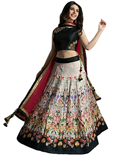 Clickedia-Womens-Bhagalpuri-Silk-Flower-Print-Black-White-Lehenga-With-Net-Dupatta-Embroidered-Blouse-PC