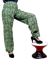 Cotton Floral Genie Harem Pants Boho Gypsy Trousers Free Size (Green)
