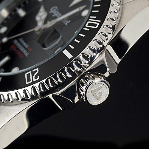 Gigandet Automatik Herren-Armbanduhr Sea Ground Taucheruhr Uhr Datum Analog Edelstahlarmband Schwarz Silber G2-002 6
