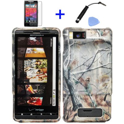 4 items Combo Stylus Pen - Screen Protector Film - Case Opener - Graphic Case Pine Tree Leaves Camouflage Outdoor Wildlife Design Rubberized Snap on Hard Shell Cover Faceplate Skin Phone Case for Verizon Motorola Droid X MB810 Droid X2 MB870