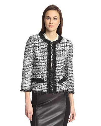 Zelda Women's Sage Tweed Jacket with Contrast Trim