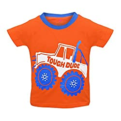 Orange and Orchid Boys Casual Printed Cotton Round Neck Half Sleeves Orange Color T-Shirt