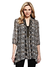 M&S Collection Paisley Print Dippy Hem Blouse