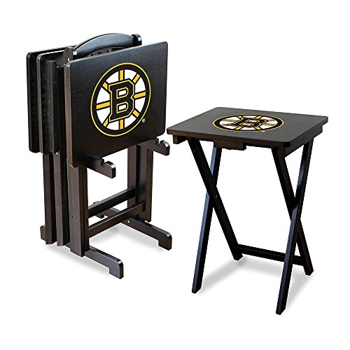 Nhl Boston Bruins Tv Snack Trays With Storage Rack (Set Of 4)