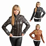 New Italian Style Ladies Biker Leather Jacket for Women Jenny Black Brown Tan by NYC Leather Factory Outlet