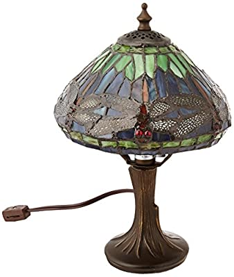 Dale Tiffany 7601/521 Dragonfly Table Lamp, Antique Brass and Art Glass Shade