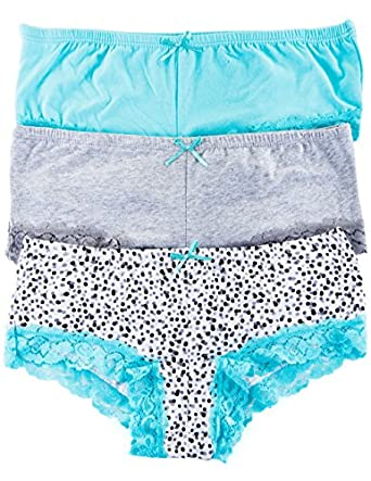 3 Pack Body Embrace Women's Cotton Hipsters (Small, Dots/Heather/Aqua)