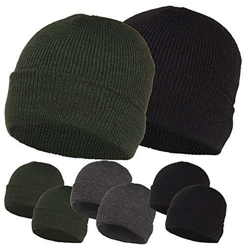 2-pack-Igloo-Winter-Ski-Hats-Acrylic-Knit-Beanie-Caps-Men-Women-Unisex-Black-Gray-Green