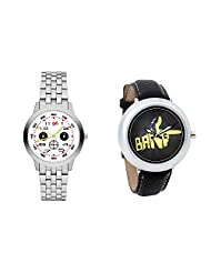 Gledati Men's White Dial And Foster's Women's Black Dial Analog Watch Combo_ADCOMB0001817