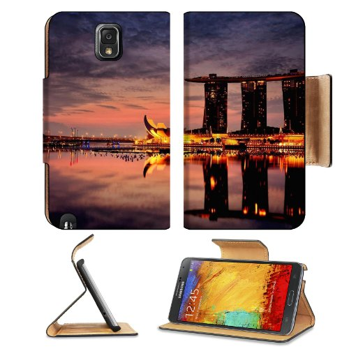 Marina Bay Sands Hotel Singapore Samsung Galaxy Note 3 N9000 Flip Case Stand Magnetic Cover Open Ports Customized Made To Order Support Ready Premium Deluxe Pu Leather 5 15/16 Inch (150Mm) X 3 1/2 Inch (89Mm) X 9/16 Inch (14Mm) Liil Note Cover Professiona