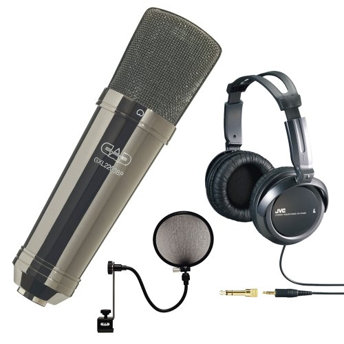 Cad Gxl2200Bp Cardioid Condenser Microphone (Black Pearl Finish) With Full Size Stereo Headphone And Microphone Pop Filter