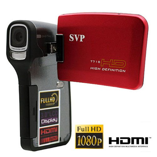 SVP T718 RED FULL HD 1080p 3.0 LCD DIGITAL VIDEO CAMCORDER + CAMERA!""