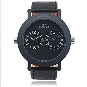 Aktion Mens Faux Leather Dual Time Zone Watch