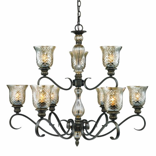Golden Lighting 81189BUS  Chandelier with Heirloom Crystal Glass Shades,  Burnt Sienna Finish