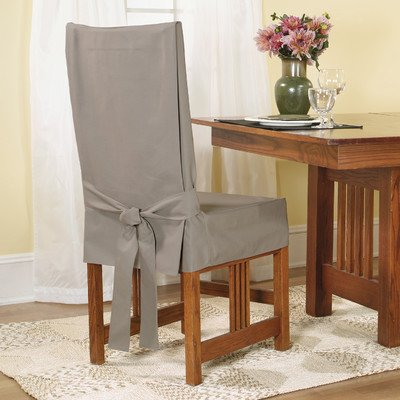 Sure Fit Cotton Duck Shorty Dining Room Chair Cover, Linen front-678823