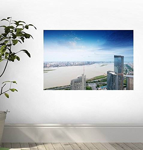 Aerial Views of the City Peel and Stick Fabric Wall Sticker by Wallmonkeys Wall Decals flydigi x9et pro non vibration mobile game handle controller