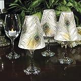 CounterArt Elegant Peacock Decorative Wine Glass Shade, Set of 4