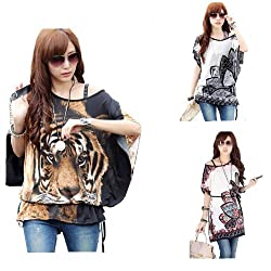 Womens Sexy Off Shoulder Batwing Sleeve Blouse Printed Oversize Loose Top Shirt With Belt 15 Styles from BetterMore Co., LTD