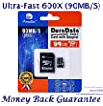 64GB Micro SD Card Plus Adapter (Class 10 UHS-I MicroSDXC Extreme Pro Memory) 64 GB Ultra High Speed 90MB/s 600X UHS-1 Microsd SDXC Pack. Amplim® Cell Phone Tablet Flash (64G Performance TF G5)