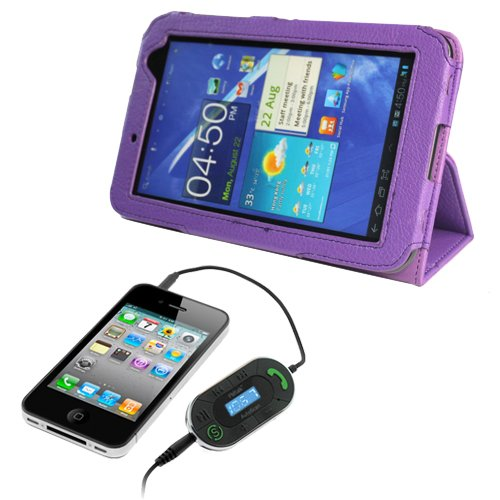 iKross 3.5mm FM Transmitter Wireless Handsfree Car Kit + EveCase Purple Folio PU Leather Protective Cover Case with Built-in Stand for Samsung Galaxy Tab 2 Android TouchScreen Tablet (7.0 inch,WiFi)