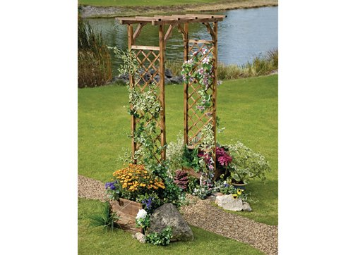 Roots  &  Shoots Wood Trellis Arch with Planters