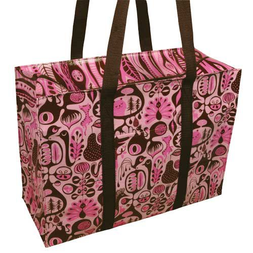Blue q - pink &; brown shoulder tote