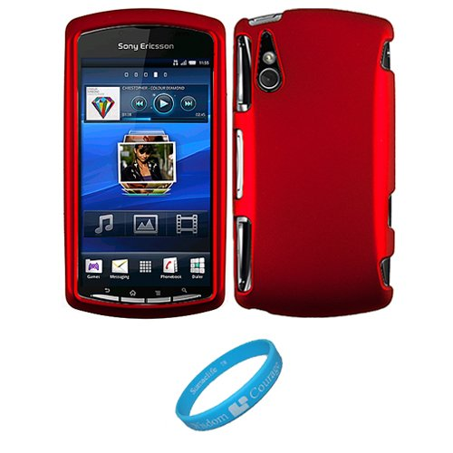 Metallic Red 2 Piece Crystal Hard Snap-On Protector Case for Sony Ericsson XPERIA Play (Playstation Phone) Android Mobile Phone + INCLUDES!!! SumacLife TM Wisdom Courage Wristband