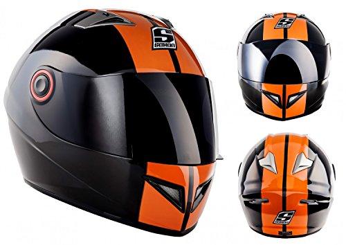 SOXON ST-666 Deluxe Night Casco Integrale Urbano Moto Sport Helmet Urban Scooter Cruiser, ECE Certificato, Compresi Sacchetto Portacasco, Nero/Arancione, L (59-60cm)