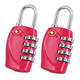 2 x TRIXES 4-Dial TSA Combination Padlock for Luggage Suitcases and Travel (Hot Pink)