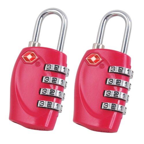 TRIXES x 2 Lucchetto di sicurezza a 4 combinazioni per valigia approvato dalla TSA - caldo rosa